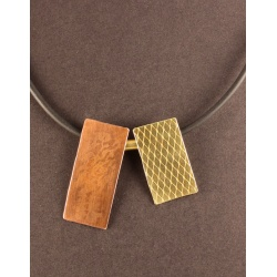 Long Copper and Brass Tiles Necklace
