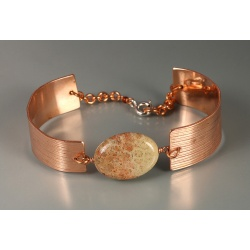 Copper Link Bracelet with Fossil Coral