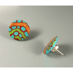 Turquoise and red disc post earrings