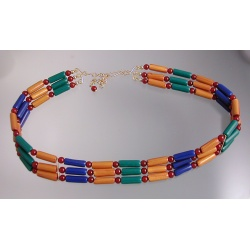 Antiquities-inspired Polymer Tube Bead Collar