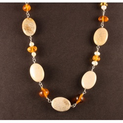 Fossil Coral, Amber and Pearl Chain Necklace