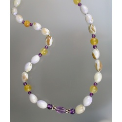 Amethyst and Serpentine Bead Necklace