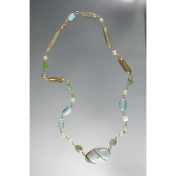 Water-colored Polymer Bead and Exotic Gemstone Necklace
