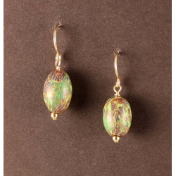 Jewel-tone bead earrings in Byzantine pattern