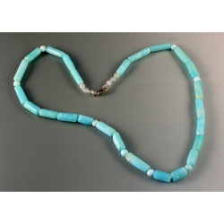 Peruvian Opal Tube and Moonstone Bead Necklace