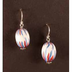 Red, blue and white chevron pattern bead earrings