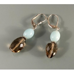 Faceted Smoky Quartz with Amazonite Earrings
