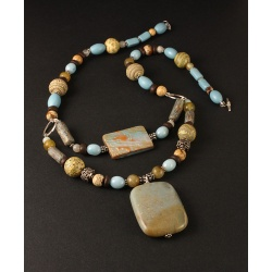 Polymer and Gemstone Beach Skies Necklace