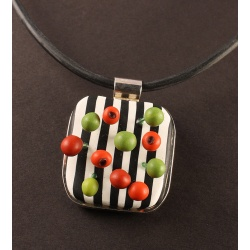 Dimensional Sterling silver framed polymer berries pendant