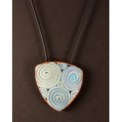 Turquoise and Gold Polymer Spiral Focal Pendant Necklace