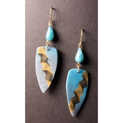 Double helix feather shape earrings with faux opal teardrops