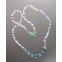 Blue Lace Agate with Polymer Millefiore Bead Necklace