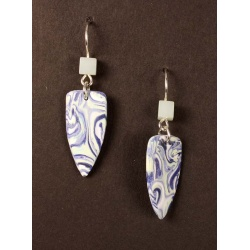 Marbled blue shield shape earrings