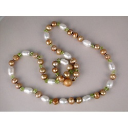 Champagne and White Peridot Pearl Necklace