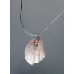 Clamshell and pearl pendant