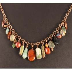Green Orphan Beads Copper Chain Necklace