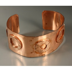 Copper Cuff with Textured Washers