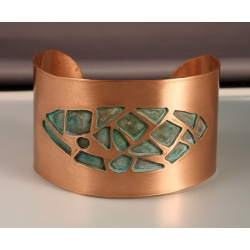 Copper Cuff with Patina Cut-outs