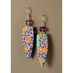 Fantasy Daisies Polymer Shield Earring with Amethyst, GF