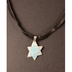 Enamelled copper Star of David with aquamarines