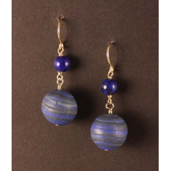 Faux lapis polymer bead earrings with lapis