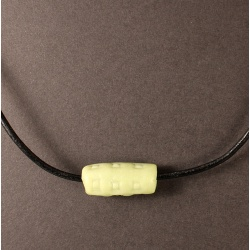 Carved Polymer Jade Bead Leather Necklace