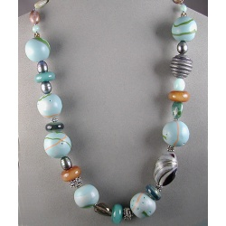 Tidepool-inspired Polymer Bead Necklace with Gemstones and Borosilicate Glass