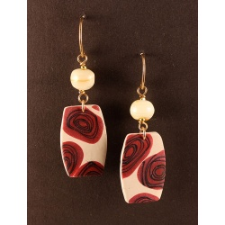 Ivory tab earrings with red deco roses