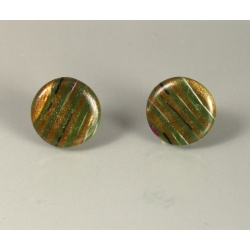 Green wood-look dot post earrings