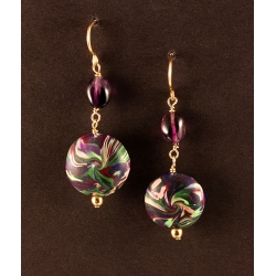 Polymer Lentil Drop Earrings with Amethyst