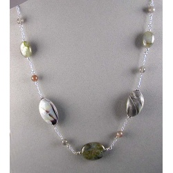 Labradorite, Moonstone and Polymer Abalone Chain Necklace