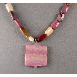 Moukaite Pillow Bead Necklace with Ghost Texture Pendant