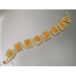 Jade Polymer Rectangle Bracelet with Gold Polymer
