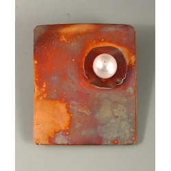 Copper Quadrangle Pin with Pearl