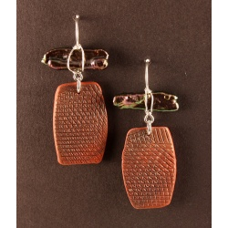 Red textured tab earrings with Raven Biwa Pearl