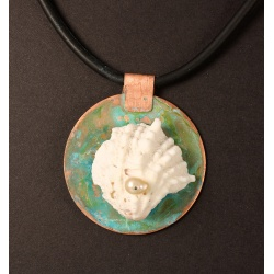 Thorny oyster shell with pearl on copper medallion