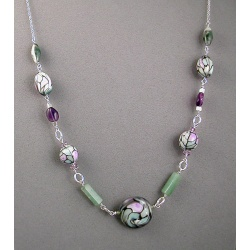 Stained Glass-look Polymer Chain Necklace