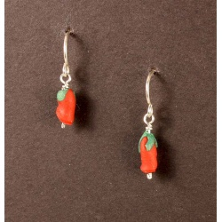 Tiny red rosebud earrings