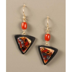Small retro squares shield earrings in red, black, gold and silver
