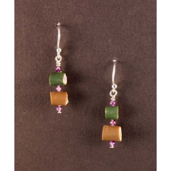 Stacked tubes earrings with amethysts