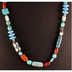 Artisan Turquoise Polymer Bead Necklace with Coral