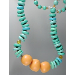 Polymer Turquoise and Amber Bead Necklace