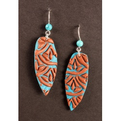 Turquoise textured polymer earrings