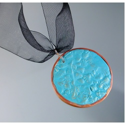 Textured Turquoise Medallion Necklace