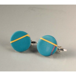 Turquoise geometric disc clip earrings